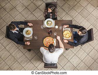 amigos, em, um, restaurante
