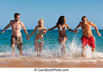 amigos, executando, ligado, férias praia