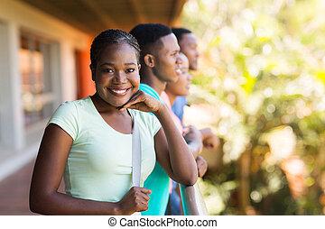 amigos, faculdade, grupo, menina, africano