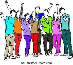 amigos, feliz, grupo, ilustración, gente