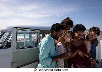 amigos, fotos, grupo, repasar, playa
