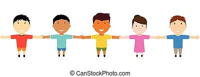 amigos, grupo, hands., segurando, feliz