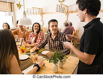 amigos, grupo, restaurante