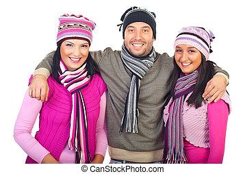 amigos, inverno, feliz