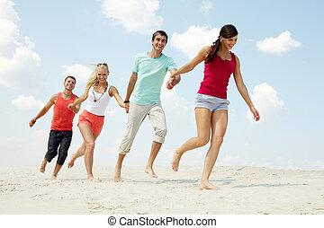 amigos, ligado, praia