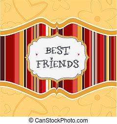 amigos, mejor, tarjeta