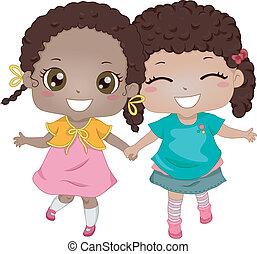 amigos, melhor, africano-americano