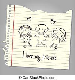 amigos, meu, amor