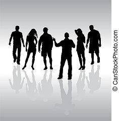 amigos, pessoas, silueta, vetorial