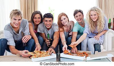 amigos, pizza, hogar, comida