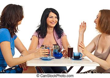 amigos, reunião, beleza, mulheres