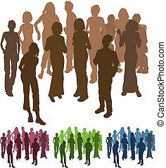 amigos, silueta, ilustración, grupo