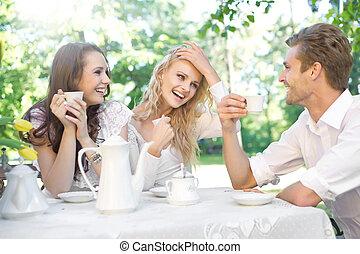 amigos, tendo, tempo bom, em, verão, jardim