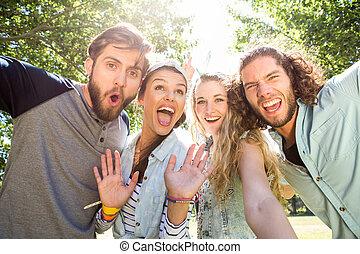 amigos, toma, feliz, selfie