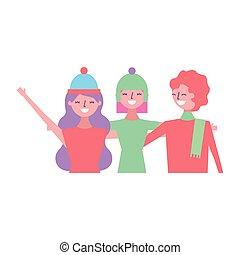 amigos, três, abraçando, mulheres