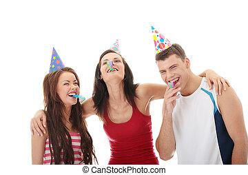 amigos, tres, feliz