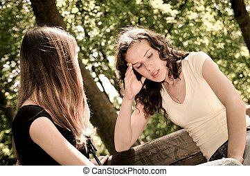 amigos, -, uma menina adolescente, confortos, outro