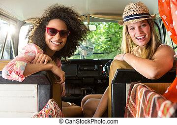 amigos, viagem, estrada, feliz