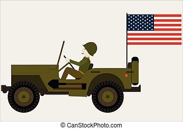 military jeep with a soldier and an american flag