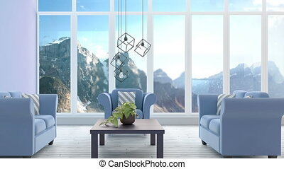 Amimated living room - Living room against snowy mountains ...