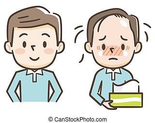 amincir, après, avant, image, illustration, hommes, traitement, cheveux