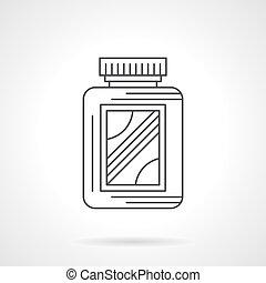 Amino acid supplement jar flat line vector icon - Symbol of...