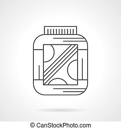 Amino protein supplement flat line vector icon - Symbol of...
