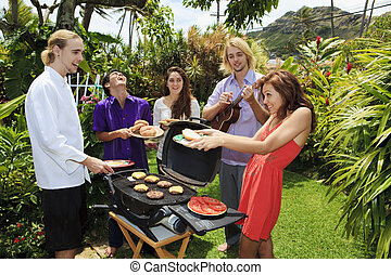 amis, à, a, arrière-cour, barre-b-que, dans, hawaï