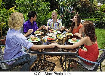 Fresque amis manger al repas images rechercher for Que manger entre amis