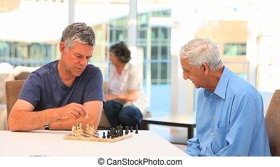 amis, échecs, jouer