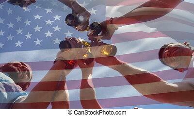 amis, américain, tintement, juillet, groupe, bouteilles, drapeau, quatrième