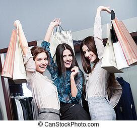 amis, après, achats, trois