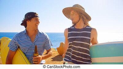 amis, autre, mâle, chaque, dialoguer, plage, 4k