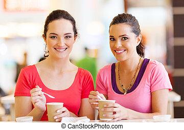amis, avoir, boissons, dans, café