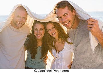 amis, avoir, groupe, sourire, ensemble, amusement