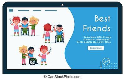 amis, bannière, illustration, handicapé, gosses, vecteur, mieux
