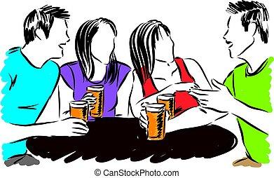 amis, boire, vecteur, groupe, illustration