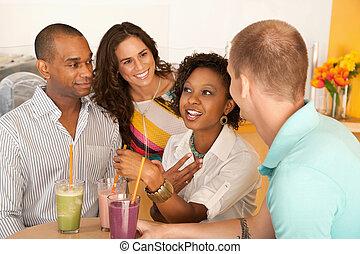 amis, conversation, groupe