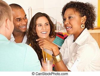 amis, conversation, sur, smoothies