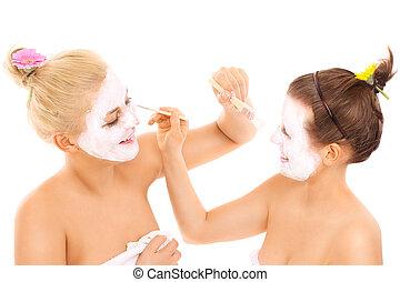 amis, demande, masques faciaux
