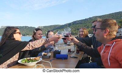 amis, fête, dîner, mer, avoir