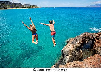 amis, falaise, sauter, dans, les, océan