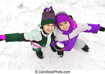 amis, frères, ensemble, neige