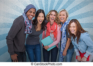 amis, groupe ensemble, poser