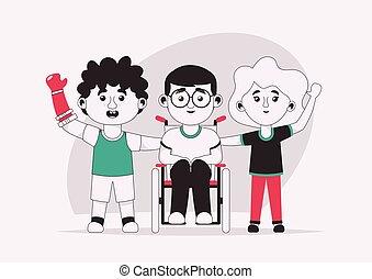 amis, handicapé, gosses, illustration, vecteur, caractère