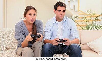amis, jeu, vidéo, jouer