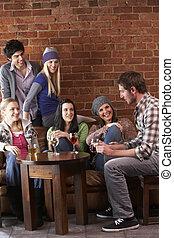 amis, jeune, caf