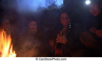 amis, jeune, guitare, forêt, nuit, heureux, chant, jouer, feu, chansons