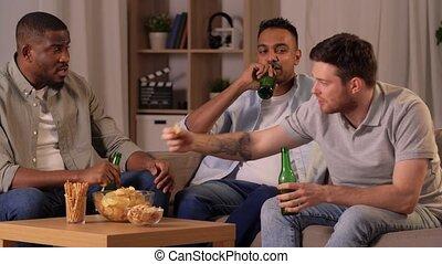 amis, maison, boire, bière, chips, mâle