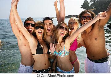 amis, plage, groupe